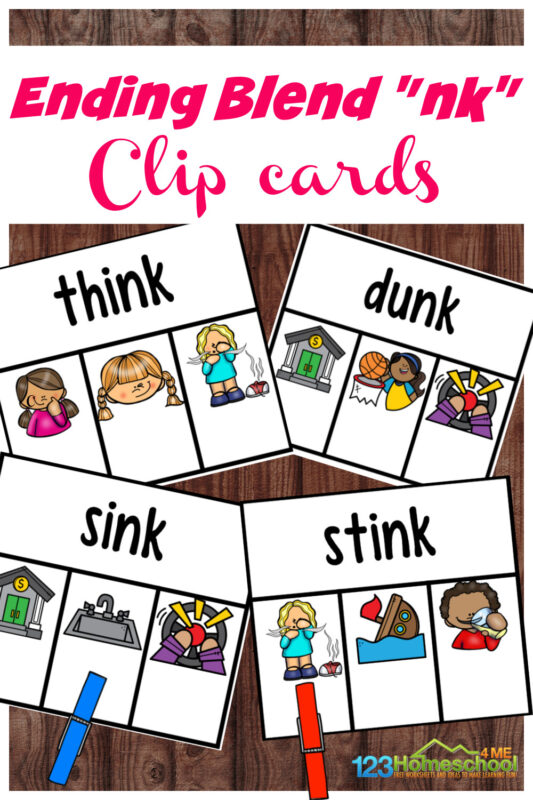 The nk sound at the end of words can be challenging for some readers. But these nk ending blends clip cards are a fun blends activity to practice reading nk words. Use this final consonant blends games with kindergarten and first grade students to improve reading and spelling with Ending Blends nk. Simply download pdf file with nk printable and you are ready to play, learn, and improve phonics skills!