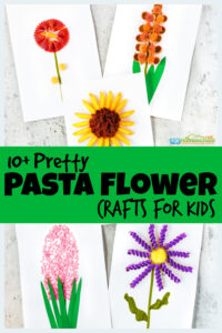 So many super cuteflower crafts for kids using various different pasta noodles. Thesepasta craftsmake beautiful and creativeflower art for kids. We have so manyflower craft ideas for preschool, pre-k, kindergarten, first grade, 2nd grade, 3rd grade and more to make assummer crafts for kids. From bowtie hibiscus to penne sunflowers, orecchiette pasta gladiolus to rotini asters, stellini hyacinth to castelane tulips - we have so many fun, easy flower crafts.