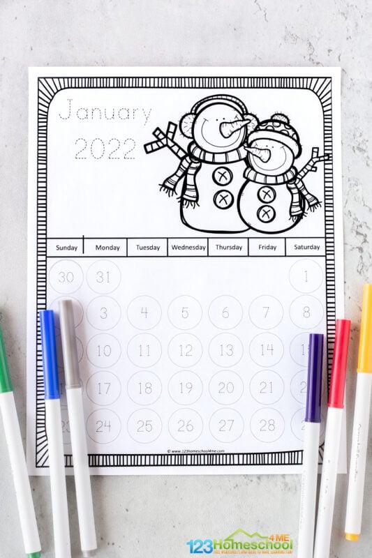 Free printable traceable calendars