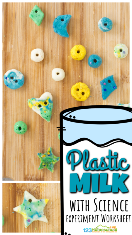 With 2 simple ingredients you have in your kitchen you can quickly and easily make your own plastic milk! Kids are going to be super impressed with this fun, hands-on Milk Plastic project! With this very simple science experimentfor kids, you can turn milk into plastic! Thismilk and vinegar experiment is perfect for preschool, pre-k, kindergarten, first grade, 2nd grade, 3rd grade, 4th grade, 5th grade, and 6th graders too. Simply print pdf file with milk and vinegar experiment worksheet and you are ready to start this fun science experiment with milk!