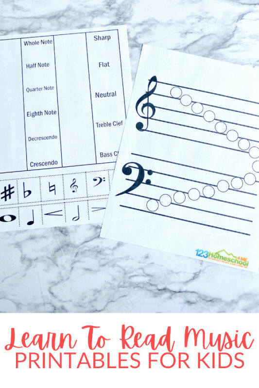Music printables for teaching kidshow to read musicwith music worksheets andmusic activitie. Print pdf file withreading music notes!