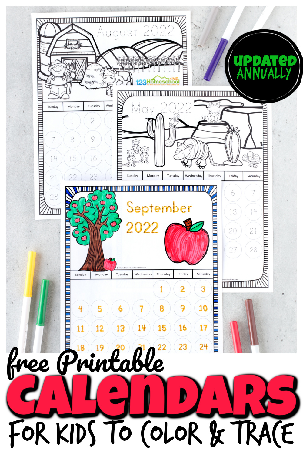 Kids will have fun learning how a calendar works with thesefree printable traceable calendars with super cute seasonal pictures at the top to color. These traceable calendars are perfect to save you on printing costs and allow your toddler, preschool, pre-k, kindergarten, first grade, and 2nd grade student to colour the pages. Plus trace the numbers or stamp the days away with bingo daubers! Simply download pdf file with printable calendars for kids to grab your2021 calendar printableand2022 free calendar printable.