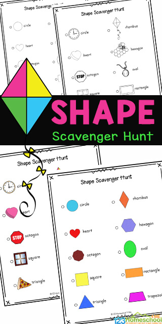 Kids will enjoy getting out and walking around the neighborhood, getting some exercise, while searching for different shaped items such as a kite, clock and window, as part of this Shape Scavenger Hunt. Thisshape scavenger hunt printable is fun for toddler, preschool, pre-k, kindergarten, first grade, 2nd grade, and 3rd grade students as it contains not only the name, but a cute picture too. Simply download pdf file with shape scavenger hunt pdf in color or black and white and you are ready to play!