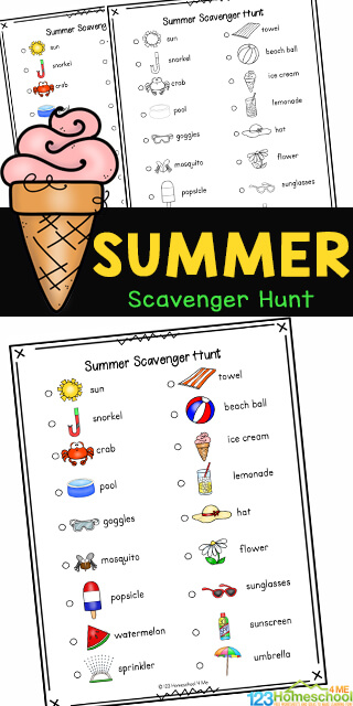Kids will enjoy getting out and walking around the neighborhood, getting some exercise, while searching for different items such as a towel, ice cream and crab, as part of this Summer Scavenger Hunt. Families will love that this summer scavenger hunt for kids is no prep, just print and head out for a fun summer activity for kids where kids will work on their power of observation! Use this scavenger hunt for summer printable with toddler, preschool, pre-k, kindergarten, first grade, 2nd grade, and 3rd grade students as it contains not only the name, but a cute picture too. Simply download pdf file with summer scavenger hunt pdf in color or black and white and you are ready to play!