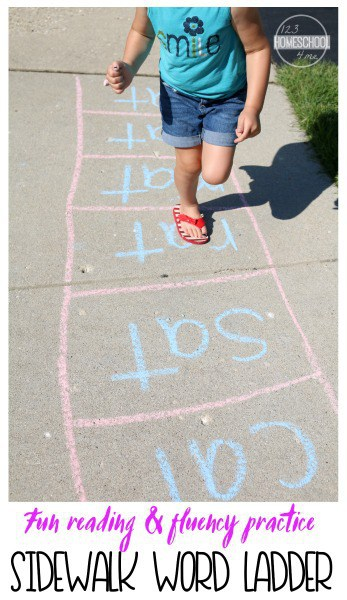 Lay a proper foundation for your child to become a successful reader by setting up hands-on reading games and activities like this fun and interactive word ladder. This Sidewalk Chalk Game is a great way to practice reading skills and fluency with your preschool, pre-k, kindergarten, or first grade child. Thisword family activity is simple, practical, and makes learning to reading fun! So head outside for this summer or spring learning activity!