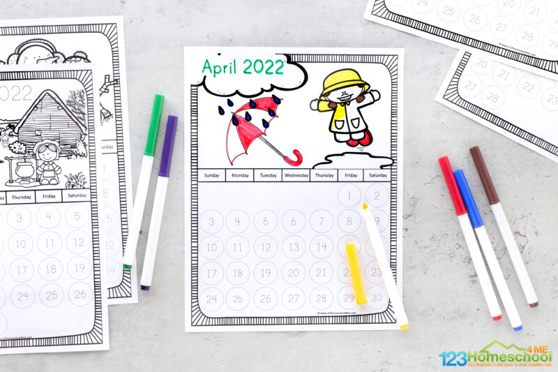 calendar printables for kids