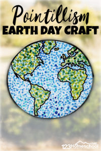 Whether you are learning about famous artists like Seurat or just looking for a uniqueearth day craft for kids - you will love making these beautiful Earth Day Crafts. This pointillism art project uses a fun painting technique with qtips to make a truly stunningearth day crafts for preschoolers, toddlers, kindegartners, grade 1, grade 2, and grade 3 students. So celebrate Earth Day for Kids on April 22nd by grabbing our pdf file with the template and get crafting!