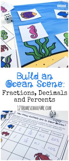 If you are planning a trip to the ocean this summer, or your kids love the movies Finding Nemo and Finding Dory, they will love creating this cute ocean sceneas they work on fractions, decimals, and percents! This Ocean Math is a such a clever, engaging fraction activity for elementary age students in 3rd grade, 4th grad,e 5th grade, and 6th graders too. You could use this activity to go along with an ocean unit, or simply as apractical fraction activities. Simply print pdf file withfraction printable and you are ready to play and learn with thisocean activity for kids.