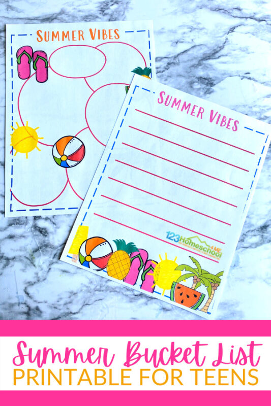 This is super easy to do with this Printable Summer Bucket List For Teens. We've also includedbucket list ideas for teens to help you get started planning your summer activities for teens.