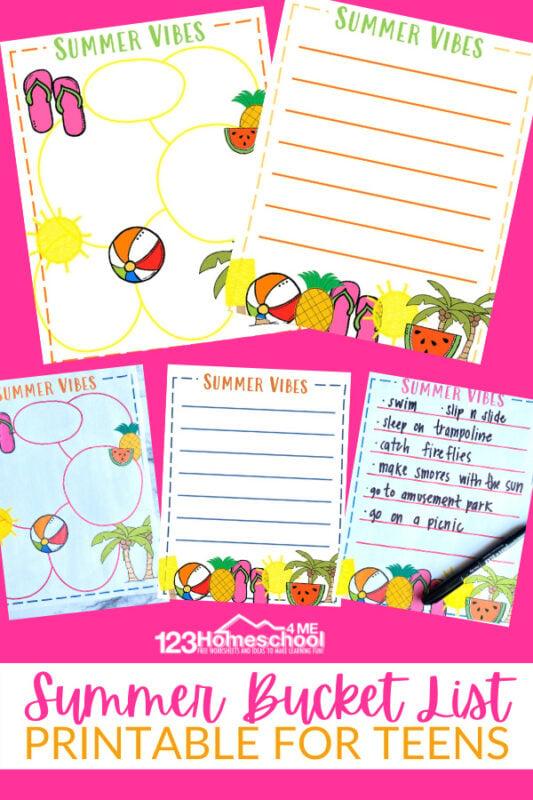 Printable Summer Bucket List For Teens plus summer bucket list ideas for teens to help you start planning your summer activities for teens.