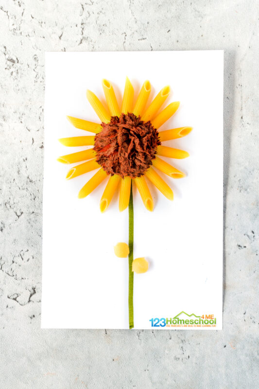 Yellow penne pasta with brown pom pom to make sunflower