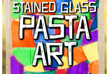 Looking for a fun, engagingpasta craft? This prettystained glass pasta project has so many different possibilities to let your children explore their creativity, create something unique and beautiful, and strengthen coordination with those little hands. In thispasta art you will use dyed pasta to creat a beautiful stained glass craft. This stained glass art for kidsis perfect for toddler, preschool, pre-k, kindergarten, first grade, and 2nd graders.