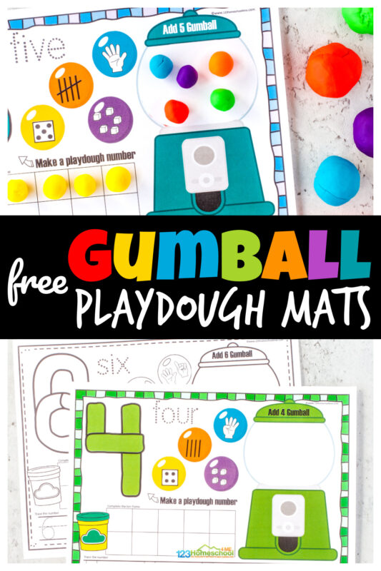 Cute GumballNumber Playdough Mats are fun for working on number sense. Thesefree printable playdough mats for numbers 1-10.