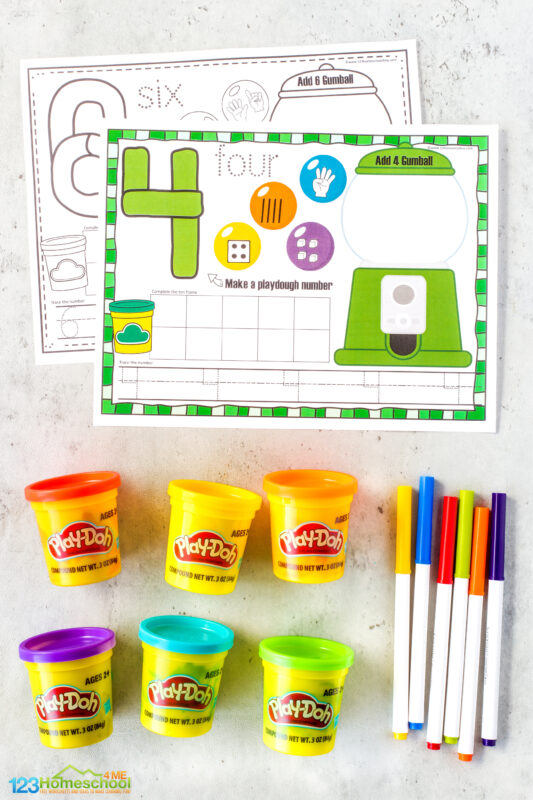 Playdough Counting Mats