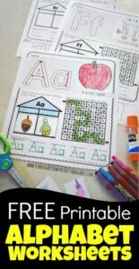 Print these super cute, hand, and Free Printable Alphabet Worksheets that are a no prep alphabet activity for preschool, pre k, kindergarten, and first grade students. Each cute alphabet page from A to Z allows kindergartners to trace letters, cut & paste beginning sounds clipart, letter recognition maze, and more. This free worksheet is a must for parents, teachers, and homeschoolers!