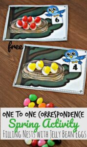 math bird counting activity for preschoolers with jelly beans