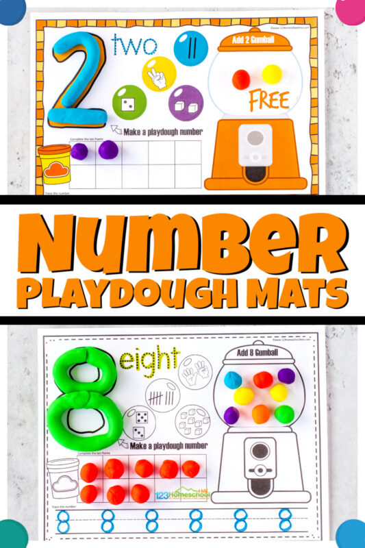 Make working on number sense FUN for kids with these super cute, gumballnumber playdough mats. Thesefree printable playdough mats include practice counting gumballs,adding gumballs to the ten frame, seeing various ways of representing that number, a place to make the numeral out of play doh, and a line to trace numbers 1-10. These number mats are outrageously fun for toddler, preschool, pre-k, kindergarten, and first graders. Simply print pdf file withtracing numbers printables and you are ready to play and learn!