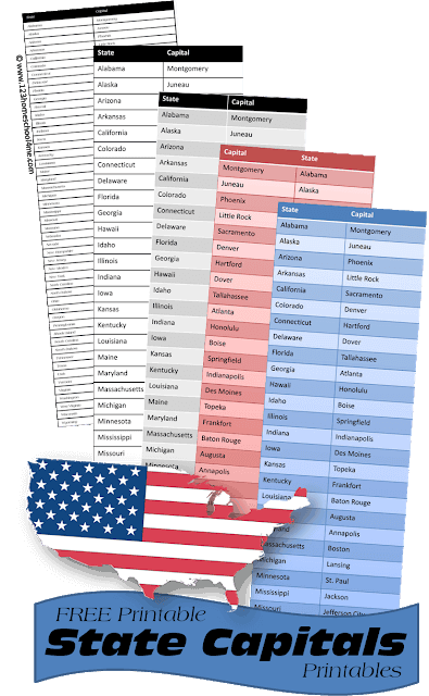 printable list of 50 states and capitals