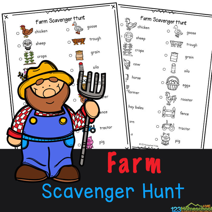 Explore Old MacDonald's farm, the tractors, equipment, and all the cute baby animals with thisFarm Scavenger Hunt. This farm scavenger hunt printable allows children to search for different farm themed items such as a chicken, barn, hay bales and goats. This farm animal scavenger hunt is fun for toddler, preschool, pre-k, kindergarten, first grade, 2nd grade, and 3rd grade students as it contains not only the name, but a cute picture too. Simply print pdf file with farm printables in color or black and white and you are ready to play with thisprintable scavenger hunt that is an outrageously funfarm activity for kids.