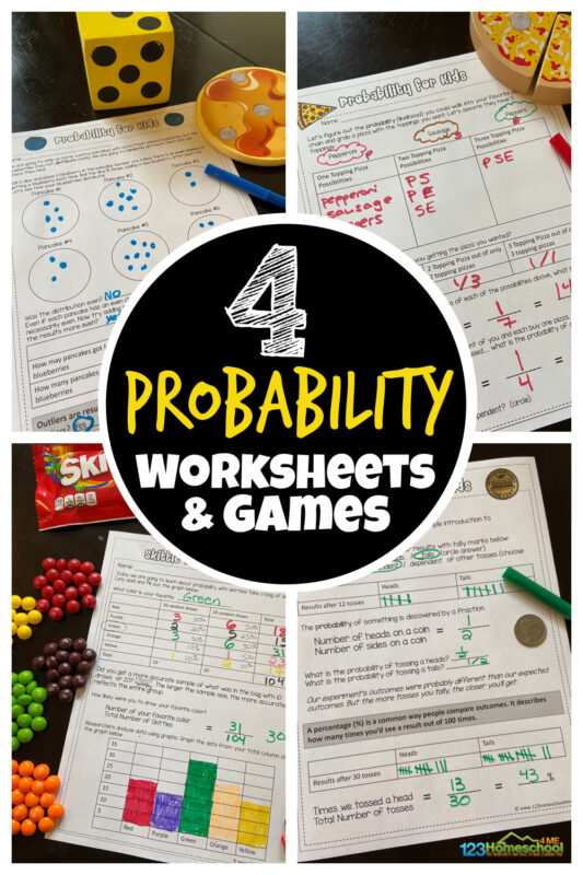 Learn about probability with these FREE probability worksheets and games that use a variety of hands-on items to keep kids engaged and make the concept click.