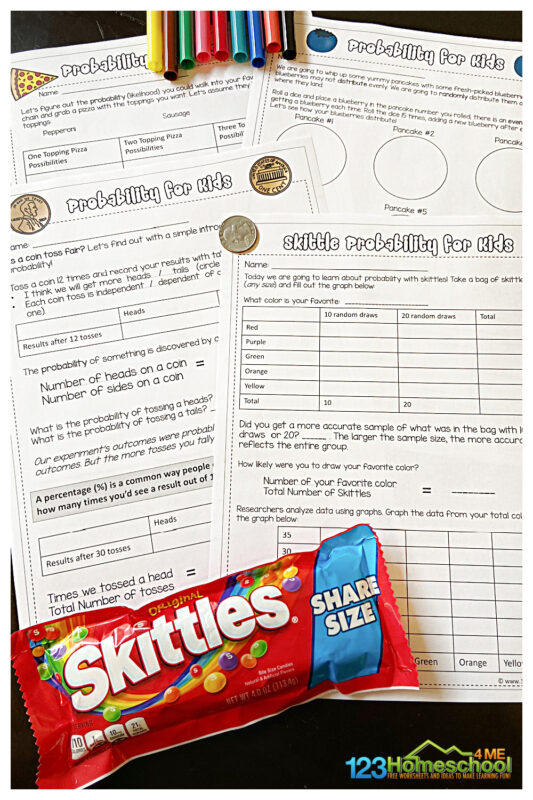 Are you teaching your child about probability? Make learning this math concept fun with these probability games that use a variety of hands-on items to keep kids engaged and help the concept click. These simple probability worksheet activities are good for elementary age kids from kindergarten, first grade, 2nd grade, 3nd grade, 4th grade, 5th grade, and 6th grade students. Simply download pdf file with probability worksheets and you are ready to play and learn!