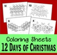 12 days of christmas coloring pages thumbnail
