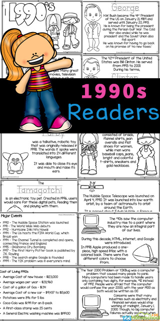 Learn all about the Nineties for kids with this American History for Kidsreader for kids to color and learn! Learn aboutlife in the 1990s with elementary age students from pre-k, kindergarten, first grade, 2nd grade, 3rd grade, 4th grade, 5th grade, and 6th grade students. Simply print pdf file with 1990s for kids for kids to learn aboutlife in the 90s while having fun coloring the cute pictures and learning about 90s' fashion, U.S. Presidents, Furby and the technological changes with computers and flip phones, and more!