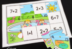 solve addition to 10 problems, then cut and paste summer math puzzle to create the beach picture