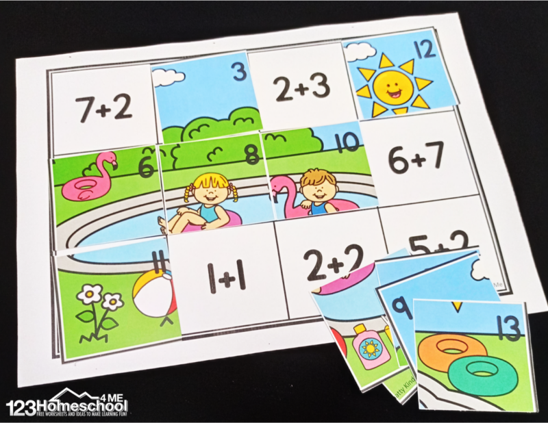 solve addition up to 10 problems, then cut and paste summer math puzzle to create a summe pool fun scene