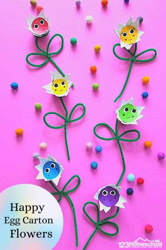 Nothing says spring and summer like pretty flowers! These happyflower craft for kids project is perfect for toddler, preschool, pre-k, kindergarten, first grade, 2nd grade, and 3rd graders too. They will love recycling materials to make egg carton flowers.Thisflower craft preschool is such a quick,easy flower craftthat makes such cheerful flowers.