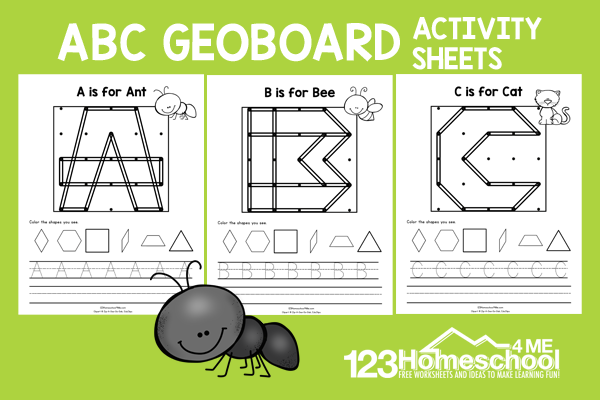 Work on spacial awareness, shapes, andalphabet letters with geoboard worksheets. This printable activity is fun for pre-k and kindergarten.