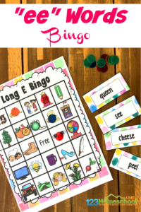 Make learning to readlong ee words FUN with this super cute, free printableLong e Sound BINGO! In this phonics game, first graders will work withlong ee sound in an engagingvowel team game. Simply download pdf file withlong vowel ee wordsactivity with ee phonics sound.