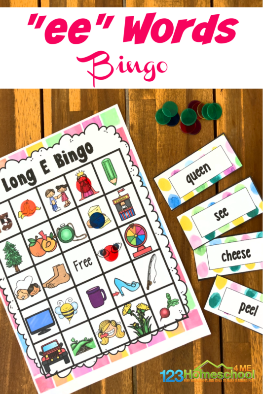 Make learning to readlong ee words FUN with this super cute, free printableLong e Sound BINGO! In this phonics game, first graders will work withlong ee sound in an engagingvowel team game. Simply print pdf file with long vowel ee wordsactivity with ee phonics sound.