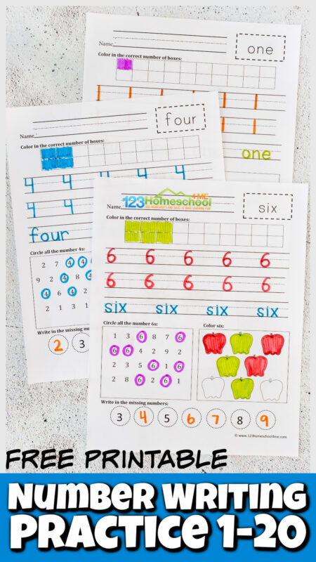 Give your students the number writing practice they need towriting numbers 1-20 with these free printable number writing practice 1-20. This practice writing numbers activity is perfect for preschool, pre-k, kindergarten, and first grader students. Simply print the pdf file with thewriting numbers worksheet 1-20 and you are ready to practice.