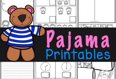 Celebrate National Wear Your Pajamas To Work Day on April 16th with these cute Pajama printables for kids celebrating Pajama Day!