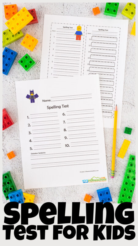 Make spelling tests fun with by using cute spelling test for kids. These printable spelling test pages use a Lego printables make taking a weekly spelling test fun for kindergarten, first grade, 2nd grade, 3rd grade, 4th grade, 5th grade, and 6th grade students. We have various printable templates for these spelling worksheets for 10, 15, or 20 words with dictation. Simply print the pdf file with free spelling test pages and you are ready for Friday!
