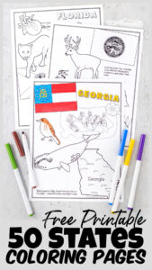 Kids will have fun learning about the United States for Kids with these super cute state coloring pages. Each of the free printable, 50 states coloring pages includes a state map, state flags, state flower, state bird, state landmark, and more. Use the united states coloring page with preschool, pre-k, kindergarten, first grade, 2nd grade, 3rd grade, and 4th graders. These Simply print 50 states coloring pages pdf and you are ready to play and learn about theusa for kids!
