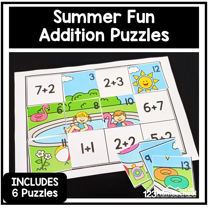 FUN summer math activity to practice addition up to 20 using free printabl math puzzles. Solve equations then cut and paste worksheets!