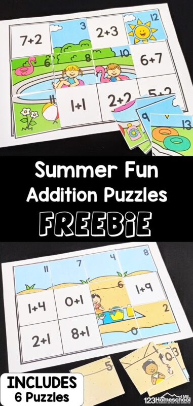 Looking for a hands-on summer math activity to practice adding? These super cute and clever addition puzzles use free printable addition worksheets to sneak in some summer learning with kindergarten, first grade, and 2nd graders too. These summer worksheets for kindergartenare easy to prep and learners can practiceaddition to 20 while having fun at the same time. Simple print theaddition to 20 worksheets and you are ready to go!