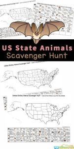 Kids will enjoy searching for state animals of all 50 US states with this fun and free State Animal Scavenger Hunt. This animal activity usese a map of american states with animal key for children to hunt for animals from each state! The USA printablesare such a fun, handy way for kids to learn about the United States of America with a printable scavenger hunt. This U.S. State Animal Scavenger Hunt is fun for toddler, preschool, pre-k, kindergarten, first grade, 2nd grade, 3rd grade, 4th grade, 5th grade, and 6th garde students with cutepicture clues. Simply print theunited states scavenger hunt pdf file in color or black and white and you are ready to play and learn!