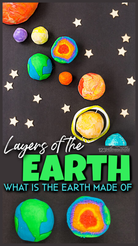 Kids are going to love learning about the Layers of the Earth for Kidswith this fun lesson on what is the earth made of. This lesson for preschool, pre-k, kindergarten, first grade, 2nd grade, and 3rd graders will use some fun Earth Science Experiments to study the layers that make up our planet Earth. Take a peak at our easy playdough earth layers, books, earth layers worksheet, and a fun core sampling activity for kids.