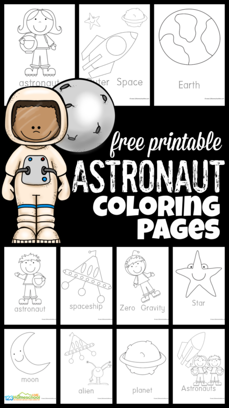 Is your child fascinated by outer space? These simple astronaut coloring pages are free printable coloring pages for kids! There are 10 different choices of astronaut coloring page for toddler, preschool, pre-k, kindergarten, and first graders. Each of thefree astronaut coloring pages include an image such as a persona in a space helmet and space suit, rocket, stars, planets, aliens, etc. Simply print theastronaut coloring sheets and you are ready to play and learn with yourspace theme.