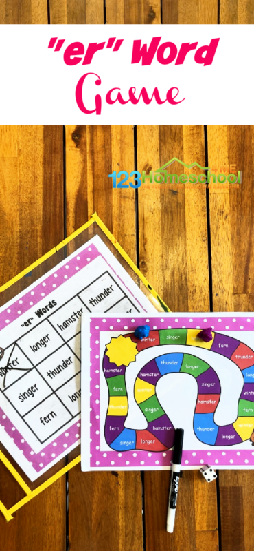Work on reading and speling er Words with this FREE printable phonics game for grade 1 students. Print this er sound words activity.