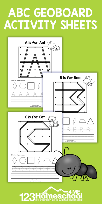 Help kids work on spacial awareness, shapes, andalphabet letters while having fun with a hands-ongeoboard activity. Thesegeoboard worksheets are perfect for preschool, pre-k, kindergarten, and first graders. Use thesegeoboard printables as extra practice, supplement, ormath learning center geoboard. Simply printgeoboard cards printable free and you are ready to play and learn!