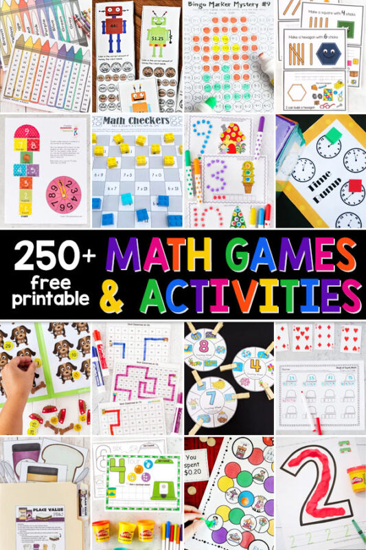 Kids will get excited about practicing math with these fun, clever, and free math games. These printable math games and fun activities are perfect for practicing counting, addition, subtraction, multiplication, division, counting coins, telling time, shapes, writing numbers, and more. Thesefree printable maths games are perfect for preschool, pre-k, kindegarten, first grade, 2nd grade, 3rd grade, 4th grade, 5th grade, and 6th graders.