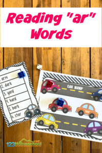 This funphonics game allows children to work onr controlled vowels while having fun. This car printable helps kids learn ther controlled vowels/ar/. Use thisphonics ar words game with first grade and 2nd graders to improve reading and writing thear sounds words.Simply print the pdf file with bossry r game for a phonics activity for 1st graders.
