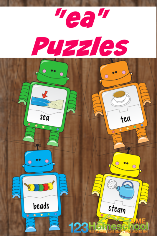 Help first grade and 2nd grade students work on thelong e sound as they learn to read and spelllong ea words with these super cute, free robot printable puzzles! Simply print the pdf file withlong vowel ea words for this hands-on phonics activity and vowel team activities for students!