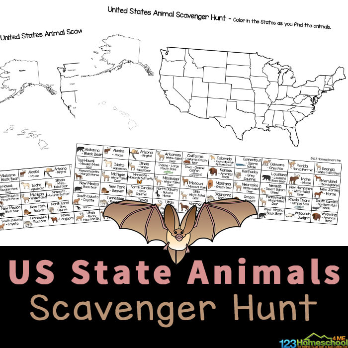 Kids will love looking for state animals with USA Printables of a United States Scavenger Hunt. Print thefree printable scavenger hunts!