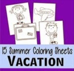 vacation coloring pages thumbnail