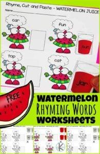 watermelon printable rhyming words worksheets